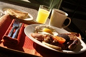 Food in a restaurant Chris Robson /Scottish Viewpoint pub,bar,food,nobody,restaurant,cafe,tea,cup,coffee table,setting,breakfast,full,bacon,eggs,orange,juice,sausage,tomato,black,pudding,scottish