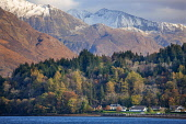 Autumn view towards Glencoe Village and the Mamores, West Highlands. Tony Hardley /Scottish Viewpoint scotland,mamores,glencoe,mountains,landscape,loch leven,scottish highlands,nobody,outdoors,water,village,snow,hills