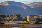 Autumn view towards castle Stalker and the Morvern Hills, Argyll Tony Hardley /Scottish Viewpoint scotland,stalker castle,castle stalker,appin,portnacroish,west highlands,history,scottish highlands,clans,morvern hills,nobody,outdoors,water