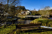 The Lyne Water flowing through the village of West Linton in the Scottish Borders, Andrew Wilson /Scottish Viewpoint Scotland,West Linton,commuter village,houses,housing,main street,picturesque village,quaint village,small village,village