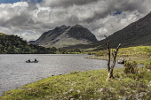 anglers in a boat on  Loch Clair and Liathach, Torridon, Wester Ross Bill McKenzie/Scottish Viewpoint activity,activities,angler,anglers,angling,fish,fishing,fisherman,fishermen,people,person,water,remote,munro,munros,mountain,mountains,hill,hills,2 people