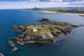 Aerial view of Fidra Island and lighthouse on Firth of Forth in  East Lothian, Scotland, UK Iain Masterton /Scottish Viewpoint Fidra Island,island of Fidra,view,aerial view,drone image,fidra lighthouse,landscape,firth of forth,Scotland,Scottish Island,lighthouse,UK,United Kingdom,East lothian,coast,coastline,europe,landmark,t
