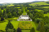 Aerial view of maze at Traquair House in the Scottish Borders, the oldest inhabited house in Scotland. The house is preparing to reopen to the public on Friday. Access to the maze will be limited to o... Iain Masterton /Scottish Viewpoint Scotland,scottish,traquair house,maze,country house,reopening,traquair house maze,scottish borders,uk,United Kingdom,britain,british,aerial,view,drone image,from above,gardens,formal garden,historic,s
