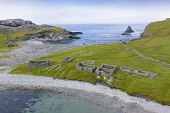 Ruined cottages and crofts at Fethaland former fishing settlement at North Roe, Shetland Islands, Scotland, UK Iain Masterton /Scottish Viewpoint Shetland,Shetland Isles,Shetland islands,Scotland,North Roe Shetland,Shetland North Roe,Fethaland,aerial view,drone image,from above,former fishing harbour,ruined crofts,ruined cottages,former fishing