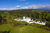 Aerial view of Blair Castle in Blair Atholl near Pitlochry, Perthshire, Scotland, UK Iain Masterton /Scottish Viewpoint Blair Castle,Blair Atholl,Scottish castle,castles,scotland,Blair Castle Scotland,Perthshire,aerial view,drone image,autumn,in autumn,autumnal,daytime,from above,travel tourism,UK,United kingdom,Britai