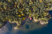 Aerial view of Loch Vaa and red boathouse  in Cairngorms National Park near Aviemore, Scottish Highlands, Scotland, UK Iain Masterton /Scottish Viewpoint Loch Vaa,Scotland,Scottish Loch,Loch Vaa Scotland,red roof boathouse,aerial image,view,drone view,from above,cairngorms national park,parks,lochs,travel,tourism,Highland,Scottish Highlands,landscape,U