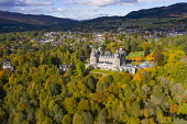 Aerial view during autumn of Atholl Palace Museum and town of Pitlochry in Perthshire, Scotland, UK Iain Masterton /Scottish Viewpoint Pitlochry,pitlochry Scotland,Scotland Pitlochry,Atholl Palace Museum Pitlochry,Scotland,Scottish town,aerial view,from above,drone image,daytime,autumn,autumnal,UK,united kingdom,britain,british,trave