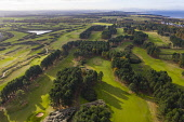 Aerial view of Fidra Links golf course at Archerfield Links golf club  in East Lothian, Scotland , UK Iain Masterton /Scottish Viewpoint Archerfield Links,Fidra Links golf course,Archerfield golf course,aerial view,drone,image,UK,United Kingdom,britain,british,daytime sport,scotland,Scottish golf course,East lothian,golf coast,scottish