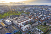 Aerial view of new apartment buildings and skyline of Edinburgh in Leith, Midlothian,  Scotland, UK Iain Masterton /Scottish Viewpoint Leith scotland,scotland,leith,aerial view,drone image,UK,United kingdom,britain,british,from above,skyline,cityscape,edinburgh,apartment buildings,apartment blocks,modern,residential neighbourhood,hou