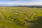 Aerial view of late winter light over Muirfield Golf course in Gullane, East Lothian, Scotland, UK Iain Masterton /Scottish Viewpoint Muirfield golf club scotland,muirfield golf course scotland,Muirfield links golf course,East Lothian,Gullane Scotland,Scottish golf course,daytime,aerial view,drone image,winter,UK,united kingdom,brit