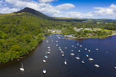 Aerial view of village of Balmaha and Conic Hill  on shores of Loch Lomond in Loch Lomond and The Trossachs National Park, Scotland, UK Iain Masterton /Scottish Viewpoint Balmaha Scotland,Balmaha,conic hill,village,marina,sailing boats,moorings,waterfront,scottish village,villages,tourist village,Loch Lomond Scotland,Scotland,Scottish Loch,Loch Lomond and The Trossachs