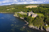 Aerial view of Culzean Castle in Ayrshire, Scotland, UK Iain Masterton /Scottish Viewpoint Culzean Castle,Scotland,Scotland Culzean Castle,coast,coastal,Culzean Castle Scotland,Scottish Castle,aerial view,drone image,daytime,travel,tourism,tourism industry,national trust for Scotland proper