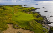 Aerial view of new Maidens 11th hole par 3 on Ailsa golf course at Trump Turnberry resort in Ayrshire, Scotland, UK Iain Masterton /Scottish Viewpoint Trump Turnberry,Scotland,Scottish,scottish golf course,golf resort,exclusive,golf courses,scottish links golf course,links golf courses,scottish golf club,UK,United Kingdom,Britain,british,sport,ayrsh