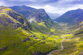 Aerial view of Beinn Fhada nearest part of Bidean Nam Bian also known as the Three Sisters of Glencoe , Highland Region, Scotland, UK Iain Masterton /Scottish Viewpoint Scotland Glencoe,Glencoe Scotland,glen coe Scotland,Glencoe,Pass of Glencoe scotland,Scottish glen,drone image,aerial view,drone view,Scottish mountain,Scottish mountains,The three sisters Glencoe,Gle