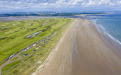Aerial view of west beach at St Andrews on Fife coast in Scotland, UK Iain Masterton /Scottish Viewpoint St Andrews,St andrews Scotland,Scotland St Andrews,Fife,coast,St andrews beach,seaside,seafront,UK,united kingdom,Britain,british,daytime,drone image,aerial view,from above,beaches,travel,tourism,town