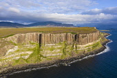 Aerial view of sea cliffs called Kilt Rock at Staffin on Trotternish peninsula on Isle of Skye, Scotland, UK Iain Masterton /Scottish Viewpoint Isle of Skye,Skye Scotland,Kilt Rock Skye,Scottish island,Staffin Skye,Aerial view,Trotternish peninsula,daytime,UK,United Kingdom,Britain,British,destination,geology,tourist industry,cliffs,sea cliff