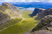 Aerial view of Bealach na Ba pass on Applecross Peninsula in Wester Ross, Scotland, UK Iain Masterton /Scottish Viewpoint Bealach na Ba pass Applecross,Applecross peninsula,steep,narrow road,Scotland,Scottish,road,climb,UK,United Kingdom,Britain,british,travel,tourism,highway,wester ross,mountain pass,aerial view,remote,