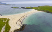 View of St NinianÕs Isle and beach , called a Tombolo or Ayre, at Bigton, Dunrossness, Shetland, Scotland, UK Iain Masterton /Scottish Viewpoint St NinianÕs Isle beach,sandy beach,St ninianÕs Isle Shetland,St ninianÕs beach Shetland,Shetland,Scotland,Scottish beach,beaches,Shetland St NinianÕs Isle,bigton Shetland,Tombolo,Shetland Ayre,aer