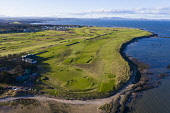 Aerial view of Kilspindie Golf course in Aberlady, East Lothian, Scotland, UK Iain Masterton /Scottish Viewpoint Kilspindie Golf Course,Aberlady,East lothian,Scotland,scottish,golf course,daytime,aerial view,drone image,golf coast,uk,united Kingdom,Britain,british,Europe,European,links golf course,Kilspindie gol