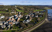 Aerial view of historic village of Culross in Fife, Scotland, UK Iain Masterton /Scottish Viewpoint Culross,Scotland,Scottish village,culross scotland,culross fife,drone image aerial,view,daytime,river forth,coast,villages,Uk,travel tourism scotland,medieval,Britain,british,Europe,European