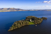 Aerial view of Loch Leven Castle on Loch Leven in Fife, Scotland, UK Iain Masterton /Scottish Viewpoint Loch Leven Castle,Loch Leven Scotland,Scottish castle,daytime,aerial,drone image,historic scotland,UK,united Kingdom,britain,British,Europe,travel,tourism,from above,monument,scotland,island