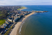 Aerial view of North Berwick town in East Lothian, Scotland, UK Iain Masterton /Scottish Viewpoint north Berwick scotland,north Berwick,Scotland,Scottish town,coast,coastal,daytime,aerial view,drone image,UK,United Kingdom,britain,british,East lothian,seaside,river forth,firth of forth,beach,towns,