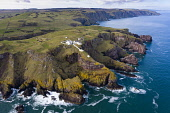 Aerial view of St Abbs Head with lighthouse in Scottish Borders, Scotland, UK Iain Masterton /Scottish Viewpoint St Abbs Head scotland,Scottish coast,landscape,st abbs head lighthouse,coastal scenery,north sea coast,scottish borders,UK,united Kingdom,Britain,British,st abbs head view,aerial,drone image,daytime,t