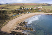 Aerial view of beach at Coldingham Bay in Scottish Borders, Scotland, United Kingdom Iain Masterton /Scottish Viewpoint Coldingham Bay,Coldingham bay beach,beach coldingham bay,Scottish Borders,scotland,Scottish beach,north sea coast,coastal,british beach,drone image,aerial view,travel tourism,seaside,coastal scenery