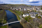 Aerial view of River Tweed flowing through town of Peebles in the Scottish Borders, Scotland,UK Iain Masterton /Scottish Viewpoint Peebles,Peebles Scotland,Scotland,Scottish town,scottish borders,daytime,river Tweed peebles,travel,tourism,UK,united kingdom,Britain,british,Peebles River Tweed,River Tweed Scotland,aerial view