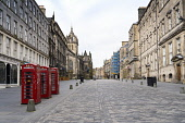 View of empty Royal Mile in Edinburgh Old Town during Covid-19 pandemic lockdown, Scotland, UK Iain Masterton /Scottish Viewpoint Scotland,Scottish,edinburgh,empty streets,pandemic,weekend during lockdown. public outside,city,city centre,views,view,eerily quiet,deserted,daytime,saturday,royal mile edinburgh,stay home,uk,United K