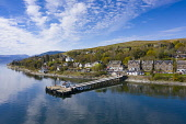 View of Kilcreggan village in Argyll and Bute, Scotland, UK Iain Masterton /Scottish Viewpoint Kilcreggan Scotland,Scotland Kilcreggan,aerial,from above,drone image,daytime,view,Argyll & Bute,Scotland,Scottish village,seafront,waterfront,pier,uk,United Kingdom,Britain,british,rural,travel touri