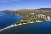 View of spit of land at Rhu village on the Gare Loch in Argyll and Bute, Scotland, UK Iain Masterton /Scottish Viewpoint Rhu Scotland,Scotland Rhu,aerial,from above,drone image,daytime,view,Argyll & Bute,Scotland,Scottish village,seafront,waterfront,uk,United Kingdom,Britain,british,rural,travel tourism,villages,Gare lo