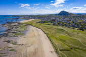 Aerial view of North Berwick beach and North Berwick Golf Club, East Lothian, Scotland, UK Iain Masterton /Scottish Viewpoint North Berwick,north berwick golf club,East Lothian,Scotland,Scottish town,north berwick beach,west bay beach north berwick,UK,united Kingdom,britain,british,daytime,aerial view,drone image,looking dow