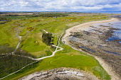 Aerial view of Kingsbarns Golf Course in Fife, Scotland, UK Iain Masterton /Scottish Viewpoint Kingsbarns golf Course,Kingsbarns golf club,Fife,Scotland,Scottish golf course,links golf course,aerial,drone image,daytime,UK,United Kingdom,britain,british,sunshine,sport,coast,coastal,traditional s