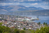 Elevated view of city of Greenock on coast of Firth of Clyde in Inverclyde, Scotland, UK Iain Masterton /Scottish Viewpoint Greenock Scotland,Scotland,Greenock,Firth of Clyde,view,skyline,daytime,scottish town,port,UK,United Kingdom,britain,british,river clyde,harbour,viewpoint,inverclyde,cityscape,sunny weather,city,port