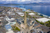 Elevated view of Greenock town centre with tower of Municipal Building in foreground , Inverclyde , Scotland, UK Iain Masterton /Scottish Viewpoint Greenock,Scotland,Scottish,town,city,city centre,municipal building Greenock,Municipal Buildings Greenock,drone image,aerial view,daytime,exterior,cityscape,general view,river clyde,clydeside,UK,unite
