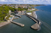 Aerial view of harbour at Dysart conservation village outside Kirkcaldy in Fife, Scotland ,UK Iain Masterton /Scottish Viewpoint Dysart,Dysart Fife,Dysart scotland,dysart harbour,Kirkcaldy,aerial image,drone,view,harbours,Scotland,Scottish village,coast,coastal,firth of forth,harbourside,daytime,villages,coastal community,trave