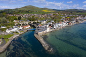 Aerial view of village of Lower Largo in Fife, Scotland, UK Iain Masterton /Scottish Viewpoint Lower Largo,Lower Largo Scotland,East Neuk Fife,Scottish vilage,coast,coastal,seafront,firth of forth,community,aerial view,drone image,UK,United Kingdom,britain,british,travel,tourism,Fife village,da