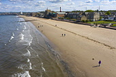 Drone image of Portobello Beach almost deserted during Covid-19 lockdown, Scotland, UK Iain Masterton /Scottish Viewpoint Scotland,Scottish,coronavirus lockdown,portobello,portobello beach,drone image,aerial view,quiet,empty,beaches,covid-19 lockdown,pandemic,daytime,outdoors,uk,United Kingdom,Britain,british,during coro