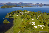 Aerial view of Loch Lomond Golf Club on shores of Loch Lomond, Argyll and Bute, Scotland, UK Iain Masterton /Scottish Viewpoint Loch Lomond Golf Club,Loch Lomond Golf course,Loch lomond,Scotland,Scottish golf Course,courses,upmarket,exclusive golf club,drone image,elevated view,nobody,Uk,United Kingdom,country club,britain bri