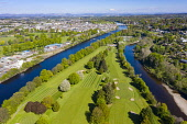 Aerial view of King James VI Golf Club golf course on Moncreiffe Island in River Tay, Perth, Scotland, UK Iain Masterton /Scottish Viewpoint Perth,River Tay,moncreiffe Island Perth,King james VI golf club perth,Scotland,Scottish town,perth scotland,scotland perth,scottish golf course,uk,United Kingdom,Britain,aerial view,drone image,perths