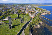 Aerial view of St Andrews Cathedral and city in St Andrews , Fife, Scotland, UK Iain Masterton /Scottish Viewpoint St Andrews,St Andrews Scotland,St Andrews Cathedral,aerial view,drone image,daytime,from above,elevated viewpoint,fife,scottish town,UK,United kingdom,britain,British,historical monument,ruin,ruined c