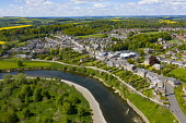 Aerial view of Coldstream beside River Tweed in Scottish Borders, Scotland, UK Iain Masterton /Scottish Viewpoint Coldstream scotland,Scotland,Scottish town,Scottish Borders,River Tweed,daytime,UK,United Kingdom,britain,British,travel,tourism,nobody,sunny weather,Coldtream,Scotland Coldstream,aerial view,drone im