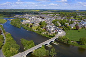 Aerial view of town of Kelso beside River Tweed in Scottish Borders, Scotland, UK Iain Masterton /Scottish Viewpoint Kelso scotland,Scotland,Scottish town,Scottish Borders,River Tweed,daytime,UK,United Kingdom,britain,British,travel,tourism,nobody,sunny weather,Coldtream,Scotland Kelso,aerial view,drone image,towns,