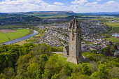 Aerial view of the National Wallace Monument  tower  on Abbey Craig, Memorial to William Wallace, Stirling, Scotland,UK Iain Masterton /Scottish Viewpoint Stirling,Wallace Monument Scotland,Wallace Monument stirling,National Wallace monument Scotland,Aerial view,drone image,covid-19 lockdown,closed,coronavirus lockdown,tourism,travel,stirlingshire,mmonu
