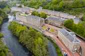 Aerial view of New Lanark World Heritage Site beside River Clyde in South Lanarkshire, Scotland, UK Iain Masterton /Scottish Viewpoint New Lanark,new Lanark Scotland,Scotland,Scottish,unesco world heritage site,historical site,travel,tourism,Uk,United Kingdom,aerial view,drone image,Britain,British,former mill town,tourist attraction