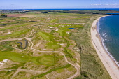 Aerial view of new Dumbarnie Links golf course on Firth of Forth in Fife. The new golf course was scheduled to open on May 16 but  date was cancelled due to the Covid-19 lockdown Iain Masterton /Scottish Viewpoint Dumbarnie links,new golf course,Dumbarnie golf course,fife,Scotland,scottish golf course,aerial view,drone image,from above,covid-19 lockdown,coronavirus,pandemic,links golf course,east neuk fife,nobo