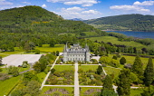 Aerial view of Inveraray Castle in Argyll and Bute, Scotland, UK Iain Masterton /Scottish Viewpoint Inveraray castle,Inveraray,Argyll and Bute,Argyll & Bute,aerial view,drone image,daytime,from above,Scotland,Scottish Castle,Uk,United kingdom,Britain,british,castles,scottish culture,scottish heritag