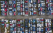 Aerial view of many cars stored in a car breaking yard or scrap yard in Scotland, UK. Iain Masterton /Scottish Viewpoint car scrap yard,car breaking yard,recycling,cars,recycled,automobile,automobiles,vehicles,aerial view,drone,image,looking down,elevated viewpoint,old cars,scrapyard,Uk,United Kingdom,UK scrappage schem