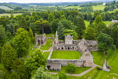 Aerial view of ruin of Dryburgh Abbey in Dryburgh , Scottish Borders, Scotland UK Iain Masterton /Scottish Viewpoint Dryburgh Abbey Scotland,Scottish,Scotland,Aerial view,elevated viewpoint,drone,image,Scottish Borders,ruin,ruined abbey,historic environment scotland,UK,United Kingdom,Britain,monument,scottish cultur